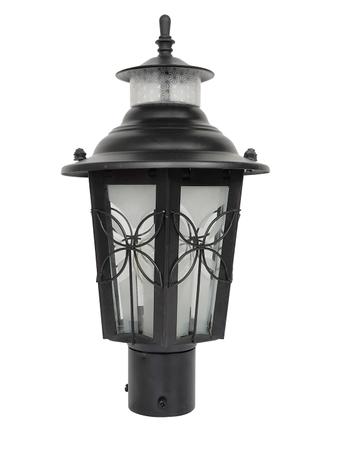 Classic Small Black Flower Mild Steel Outdoor Gate Light | Garden Light
