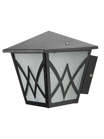 Black Metal Hut Outdoor Wall Light with Frosted Glass