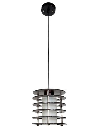Wooden Layered Cylindrical Simple Black Hanging Pendant Ceiling Light