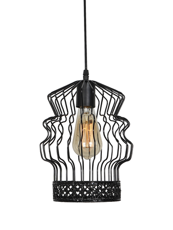 Distorted Cage Black Color Decorative Hanging Light Ceiling Light Lamp (Zig Zag Wire Pattern )