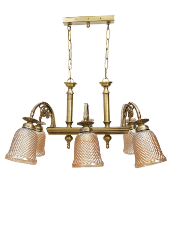 Gold Colour Chandelier with 6 Lamp Shade in Classic Style with Steel and Glass Material