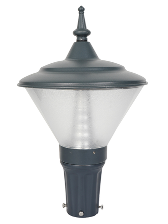 Grey Conical Outdoor 12 W Small LED Gate Light Fixture with inbuilt Warm Light LED Transitional Gate Lamp in Aluminium and Acrylic