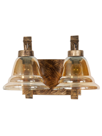New Antique Stylish Twin Hand Decorative Golden Lustrous Glass Wall Lamp Light With Antique Gold Wooden Fitting