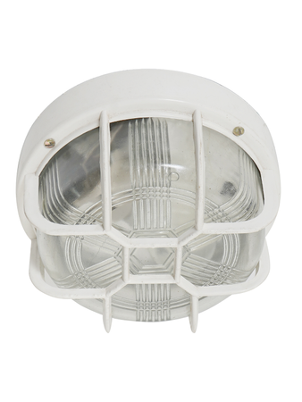 Round White 8 Inches Glass Bulkhead Light with Acrylic Guard