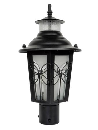 Classic Medium Black Flower Mild Steel Outdoor Gate Light | Garden Light