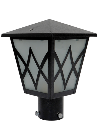 Black Metal Hut Outdoor Gate Light with Frosted Glass