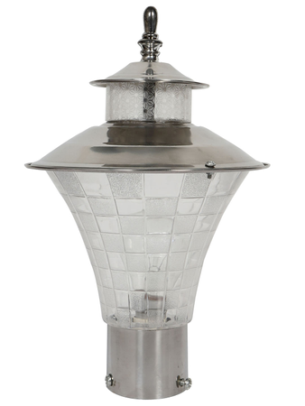 Small 6 x 11 inches Stainless Steel and Checkered Acrylic Outdoor Gate Light |Garden Light