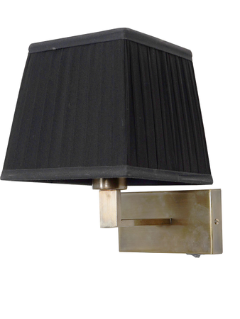 Antique Brass Finished Steel Bedside Wall Light with Black Pleated Square Fabric Shade