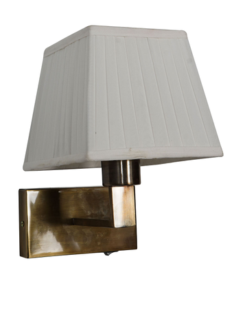 Antique Brass Finished Steel Bedside Wall Light with White Pleated Square Fabric Shade