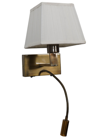 Dual Bedside Antique Wall Light and Flexible LED Reading Light with White Pleated Square Fabric Shade