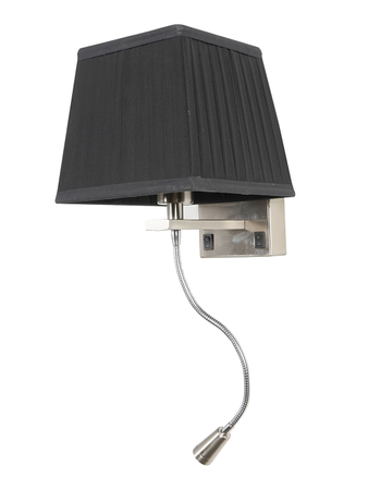 Dual Bedside Wall Light and Flexible LED Reading Light with Black Pleated Square Fabric Shade