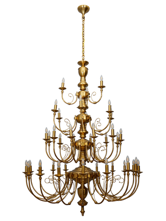 Classic English 4 Tier Candelabra 7 feet Brass Chandelier with 39 Lights in Antique Brass Finish