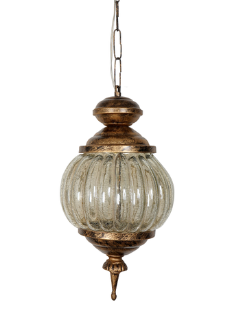 Crackle Lustrous Melon Glass Hanging Lamp with Antique Gold Finish Moroccan Pendant Lighting