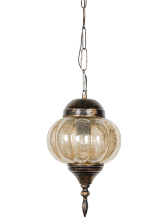 Turkish Mini Hanging light for Living, Dining Room Decorative Pendant Light with Antique Gold Finish and Golden Crackle Glass (E27 Holder)