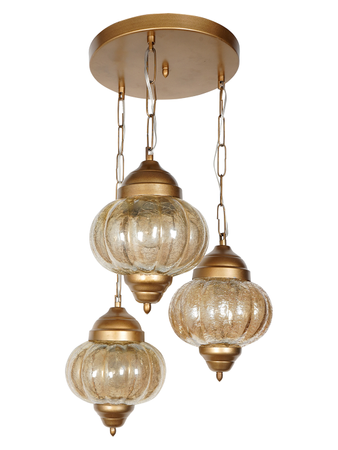Turkish Matt Gold 3 Light Cluster Hanging Light with Steel Base and Crackle Melon Glasses Moroccan Corner Pendant Light
