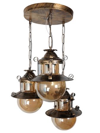 Rustic Globe Shape Antique Gold Set of 3 Pendant Hanging Ceiling Lamp Light, Golden Lustrous Glass Cluster Hanging Light