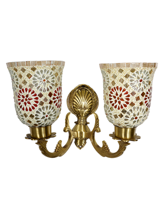 Meenakshi 2 Light Cast Brass Traditional Wall Light with Tilak Mosaic Glass Shades Antique Brass Finished Wall Sconce B22 Holder