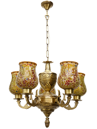 Antique Metal Chandelier with 5 Lamp for Home and Restaurants | Decorative Jhoomer Ceiling Lights for Living Room