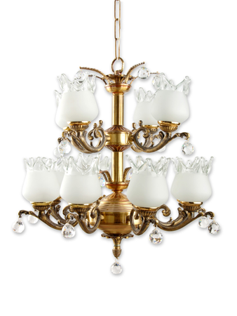 Antique Brass and Crystal 12 Light Chandelier