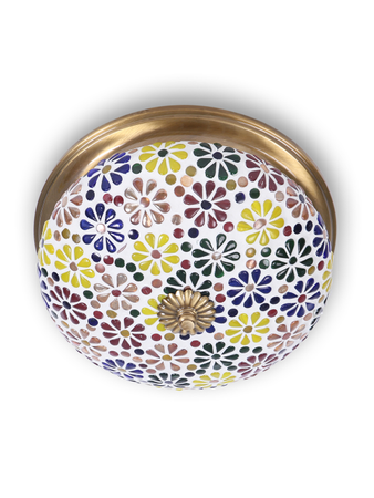 Multicolored Mosaic Brass Ceiling Lamp-Small