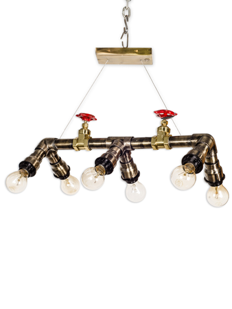 Rustic Industrial Pipe 6 Light Hanging Light