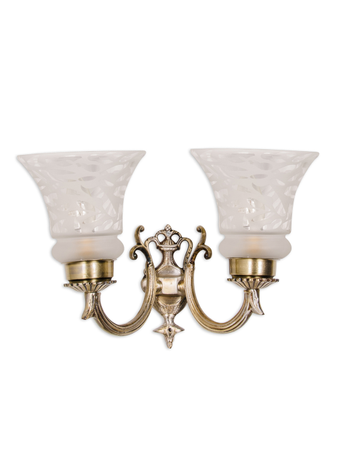 Small Embossed Double U Arm Wall Light