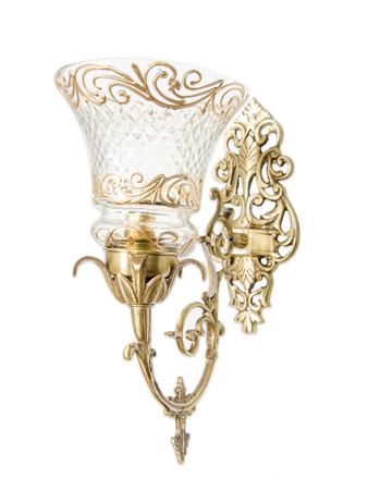Ornate Brass & Cut Glass Single Wall Sconce