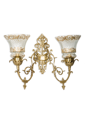 Ornate Brass & Cut Glass Double Wall Sconce