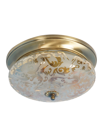 Zenith Golden Etched Glass 10 Inches Flush Mount Brass Ceiling Lamp