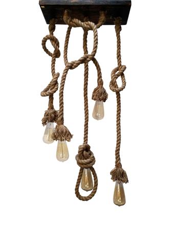 Jute Rope Set of 5 Lights Hanging Pendant Light