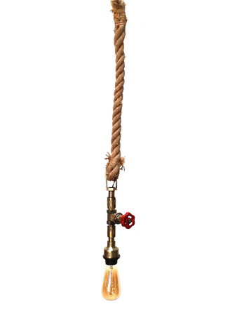 Industrial Valve Pipe on Rope Hanging Pendant Light