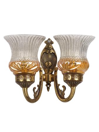 Lustrous Double Antique Brass Wall Light