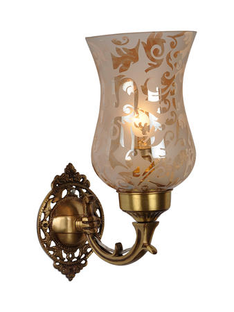 Brass Mini Single Wall Scone with Luster Etched Glass