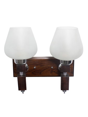 Martin Wood Goblet Glass Double Wall Light