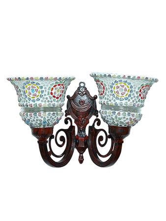 Taj Red Aluminium and Mosaic Glasses 2 Light Wall Sconce