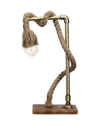 Jute Rope Barn Wood Table Lamp