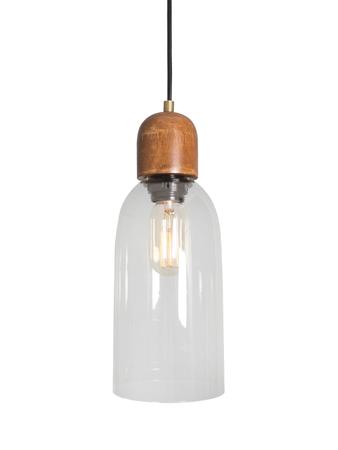 Modern Clear Glass & Wood Pendant Light