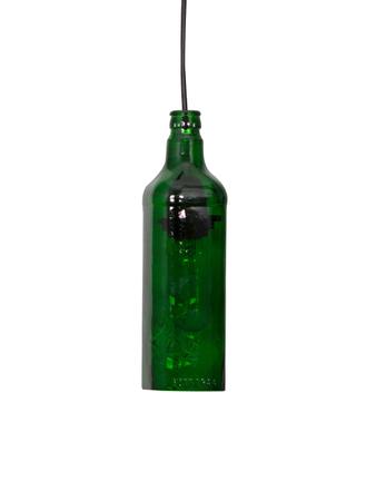 Green Glass Bottle Hanging Pendant Light