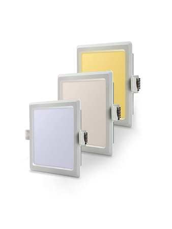 Syska RDL 12 Watt 3 in 1 Square LED Recessed Panel Light -  Changes in 3 Colours on Switching On & Off  (White, Natural and Warm)