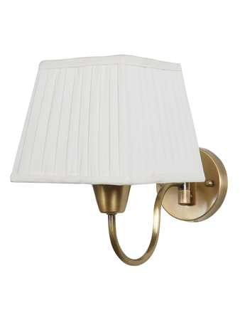 Gooseneck Brass Swivel Wall Sconce with White Pleated Square Fabric Shade