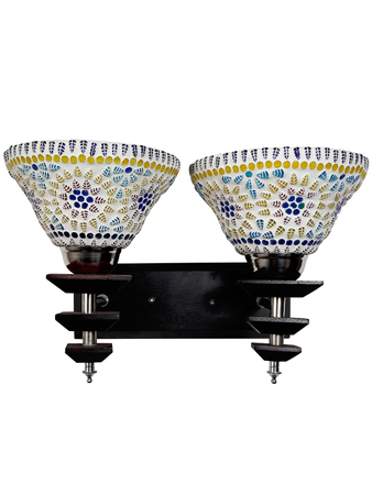 Transitional 2 Light Wall Sconce with Mosaic Glass Shades and Black Wooden Wall Lamp Indoor Lighting (Holder E27)