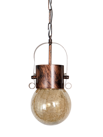 Rustic Antique Copper Hanging/Pendant Light with Golden Crackle Glass Globe for Bedroom, Living Room, Restaurant, Office, Home Decor Pendant Ceiling Lights E27