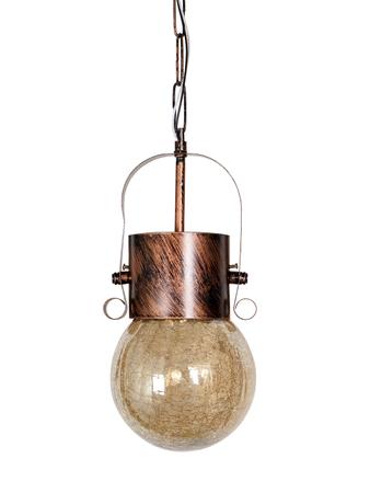 Rustic Antique Copper Hanging/Pendant Light with Golden Crackle Glass Globe for Bedroom, Living Room, Restaurant, Office, Home Decor Pendant Ceiling Lights E27
