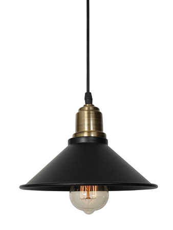 Retro Hanging Lamp Vintage Pendant Light Cone Shape Black Ceiling Lamp Shade For Living Room Corridor Island (Black)