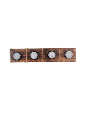 Wooden Hollywood Vanity Light with Golden Studs