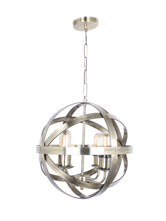 Orb Cage Small 4 Light Antique Brass Finished Chandelier