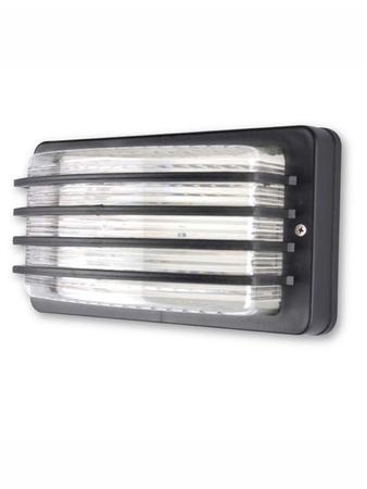 Unbreakable Outdoor Black Louvered Bulkhead Light