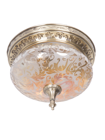 Lustrous Etched Glass and Brass Flush Ceiling Light