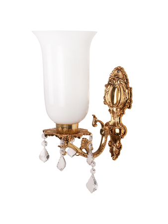 Majestic Gold & Crystal Aluminium Single Wall Sconce with Tall White Glass Shade