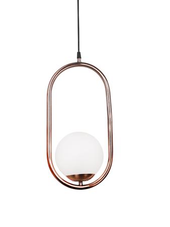 Modern Antique Copper Capsule Ring White Globe Pendant Lamp